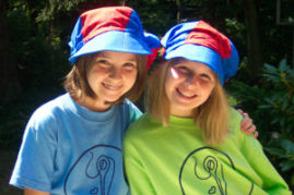 Friends can sew hats together at summer sewing camp.