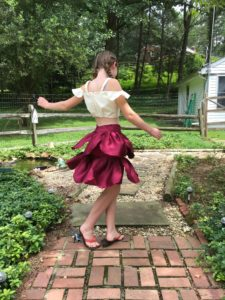 DIY sewing transformation bridal dress to a skirt