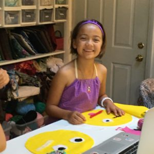 kids sewing party make an emoji face