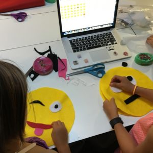 kids can sew and emoji pillow