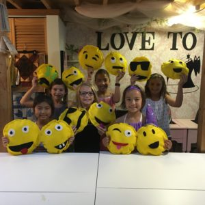 kids sewing party - make an emoji