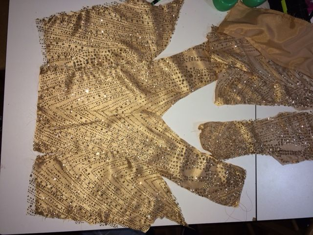 gold sheer fabric for a prom gown