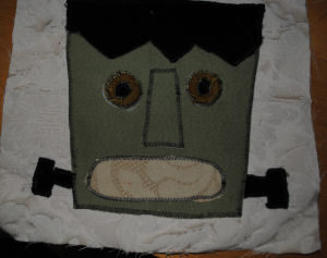 Easy to sew handmade Halloween Frankenstein pillow craft
