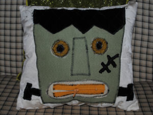 A creepy and easy to sew craft, a Halloween themed pillow with Frankenstein on it
