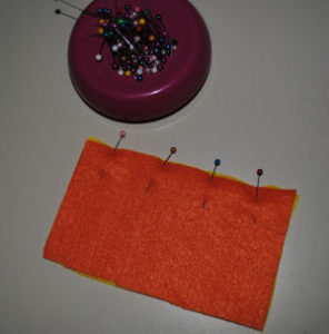 An easy to sew candy corn drawstring Halloween bag that is handmade