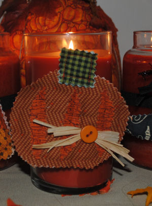 How to Make A Quilted Country Pumpkin Fabric Candle Ring